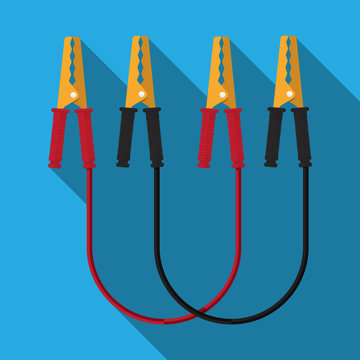 Jump start vehicle cable vector flat design.