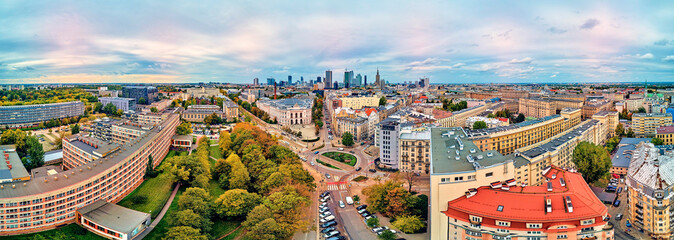 Beautiful panoramic aerial drone view to The Main Building of the Warsaw University of Technology -...
