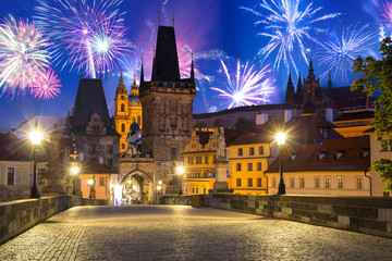 Fireworks display over the Charles bridge in Prague, Czech Republic