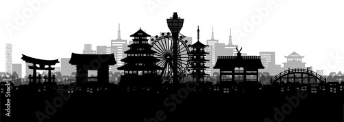 Fototapete Silhouette panorama view of Osaka city skyline with world famous landmarks of Japan in paper cut style vector illustration.