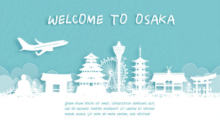 Wall Mural - Travel poster with Welcome to Osaka, Japan famous landmark in paper cut style vector illustration.