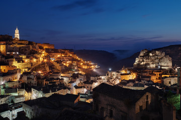 era, Townscape and historical cave dwelling, Sassi di Matera at blue hour
