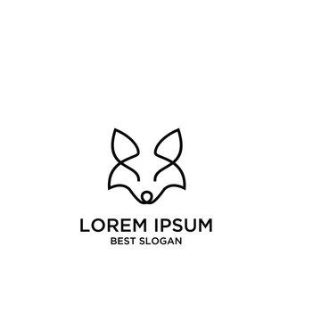 fox line head logo icon design vector illustration