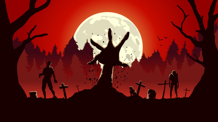 Zombie arm out from ground of grave in a full moon night and red sky. Silhouette background for horror concept. Fototapete