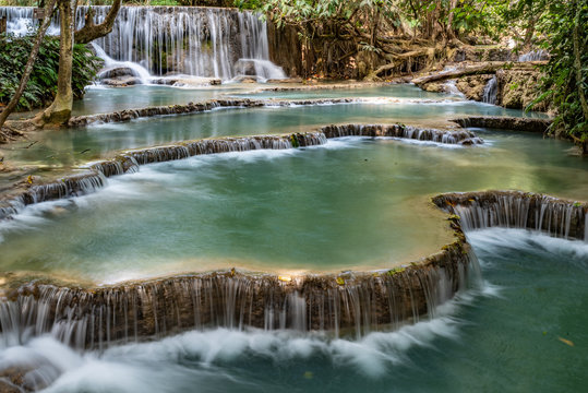 Famous touristic destination in north Laos, Kuang Si waterfall is easy to join from Luang Prabang