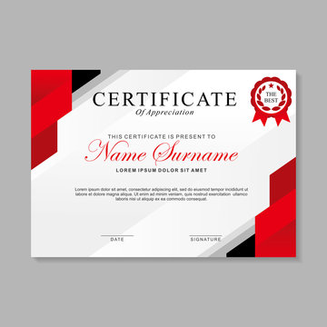 Modern certificate template design with red, black and white color.