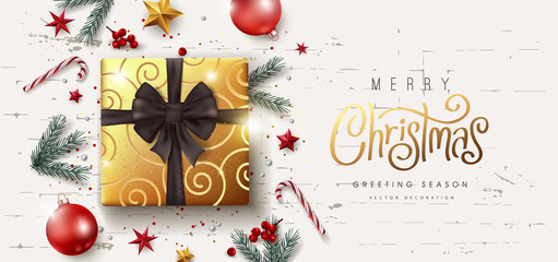 Wall Mural - Christmas Decorative Border made of Festive Elements Background .Merry Christmas vector text Calligraphic Lettering Vector illustration.