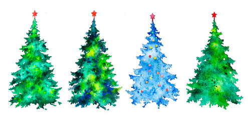 Christmas trees on white background, watercolor illustration.