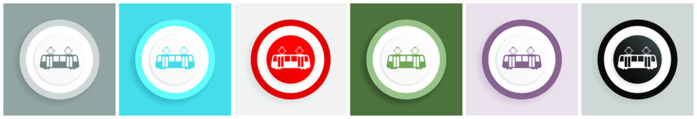 Fotomurales - Tram icon set, colorful flat design vector illustrations in 6 options for web design and mobile applications