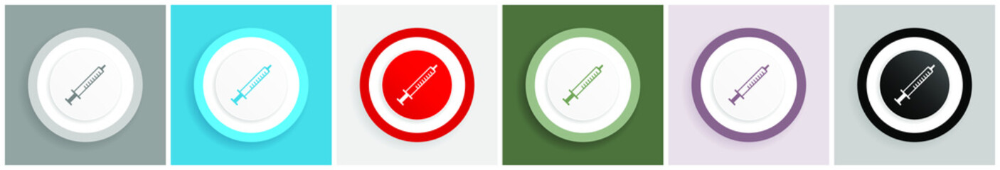 Medicine icon set, colorful flat design vector illustrations in 6 options for web design and mobile applications