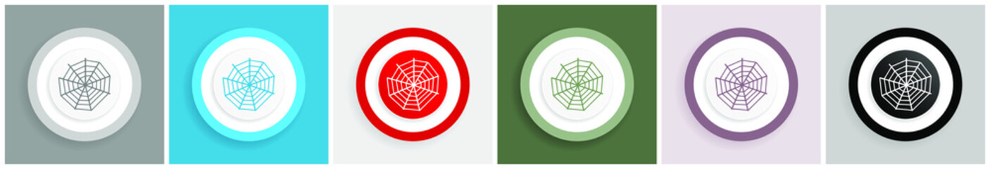 Spider web icon set, colorful flat design vector illustrations in 6 options for web design and mobile applications