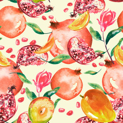 Watercolor, vintage seamless pattern - fruit ripe pomegranate,mango, peach.  Vintage drawing of fruits, stones, tropical flowers, plants and leaves. Fashionable pattern. Art background.