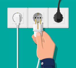 Electrical outlet and hand with plug. Electrical components. Wall socket with cable. Vector illustration in flat style