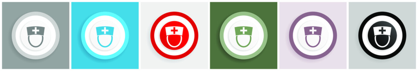 Nurse icon set, colorful flat design vector illustrations in 6 options for web design and mobile applications