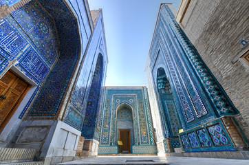 In de dag Oude gebouw Shah-i-Zinda - Samarkand, Uzbekistan