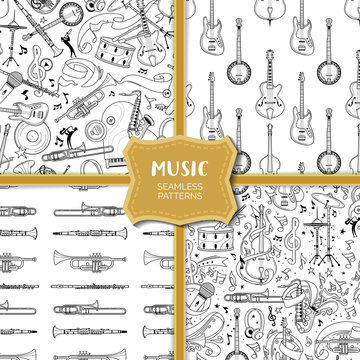 Musical equipment hand drawn outline seamless pattern set