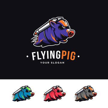 Flying rocket pig mascot cartoon logo
