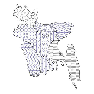 Coloring page Bangladesh map administrative division regions with different texture vector illustration
