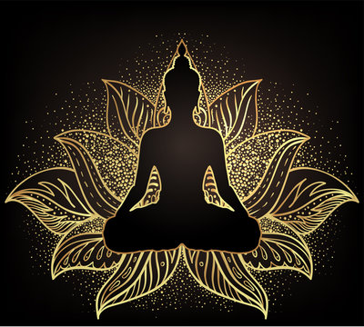 Chakra concept. Inner love, light and peace. Buddha silhouette in lotus position over ornate mandala. Vector illustration in gold  isolated. Buddhism esoteric motifs.