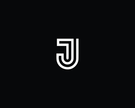 Professional and Minimalist Letter J TJ JT Logo Design, Editable in Vector Format in Black and White Color