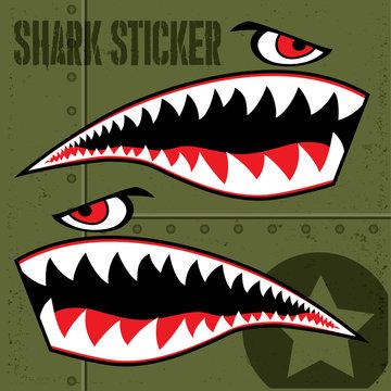 Flying Tiger Shark Sticker Vector