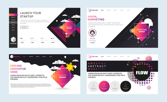 Set of effective website template designs. Modern abstract geometric design vector illustration concepts of web page design for website and mobile website development. Easy to edit and customize.