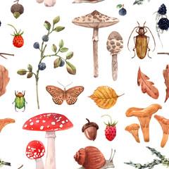 Obraz Watercolor autumn forest vector pattern - fototapety do salonu