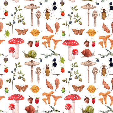 Watercolor autumn forest vector pattern