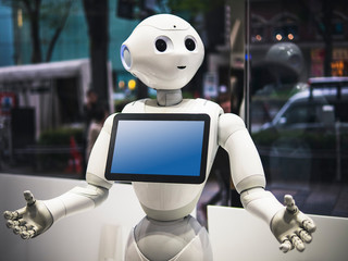 Pepper Robot Assistant Humanoid display Information on Tablet screen Japan Technology service. TOKYO, JAPAN - APR 16, 2018