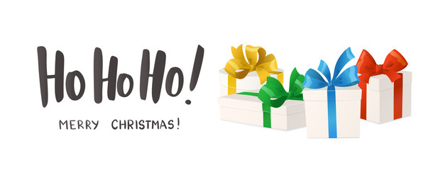 Merry Christmas card. Ho-ho-ho text. Cartoon gift boxes with bows isolated on white background, vector illustration.