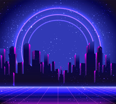 Retro Futurism. Vector futuristic synth wave illustration. 80s Retro poster Background with Night City Skyline. Rave party Flyer design template