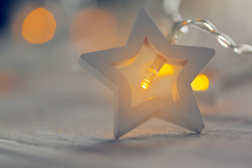 Star-shaped light garlands, festive decoration  for Christmas