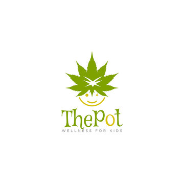 character logo the pot, with fun style of cannabis and child vector