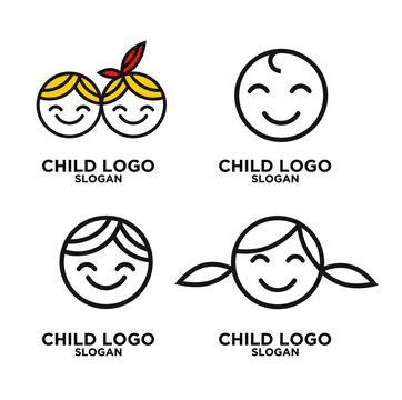 simple line baby kids  logo