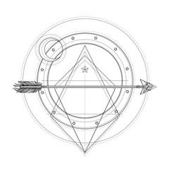 Blackwork tattoo flash. Sacred geometry, arrow and moon. Highly detailed vector illustration isolated on white. Mystic symbol. New school dotwork. Boho design.