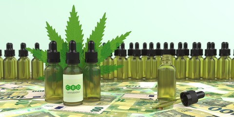 CBD Bottles Hemp Leaf Euro Notes
