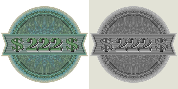 Sticker round guilloche mesh and the inscription 222 dollars