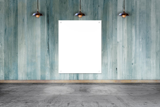 wooden wall with white paper card. write text on paper for advertise or public relations