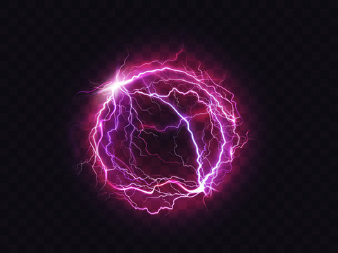 Electric ball, lightning circle strike impact place, plasma sphere in purple color isolated on dark background. Powerful electrical discharge, magical energy flash. Realistic 3d vector illustration