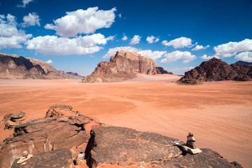 Millenary rocks and mountains at Wadi Rum desert, southern Jordan