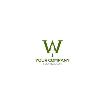 W Pine Logo Design Vector