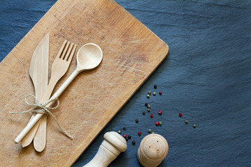 Wooden cutting kitchen desk board with cutlery