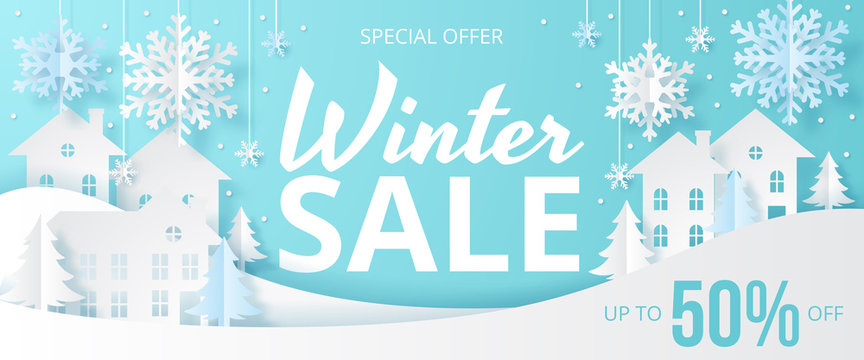 Winter sale banner with house, snow and tree. Papercut vector design. Vector illustration.
