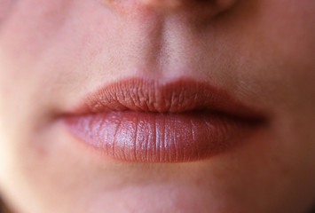 Close up detail of female face and lips