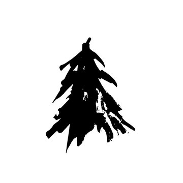 Fir tree silhouettes. Black grunge Christmas tree. Watercolor spruce isolated on white background. Vector illustration