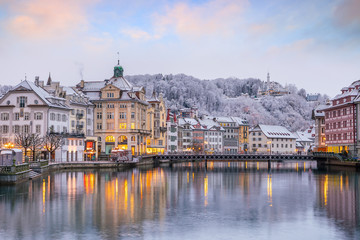 Wall Mural - Historic city center of downtown Lucerne with  Chapel Bridge and lake Lucerne in Switzerland