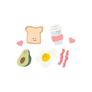 Cute food - toast, avocado egg and bacon