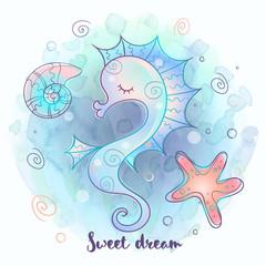 Cute seahorse sleeping sweetly. Sea world. Vector.