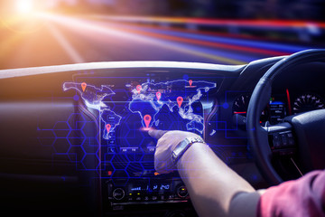 The car user pokes the location of the place Who is going to travel Future concept of intelligent car technology, Element of this image furnished by Nasa