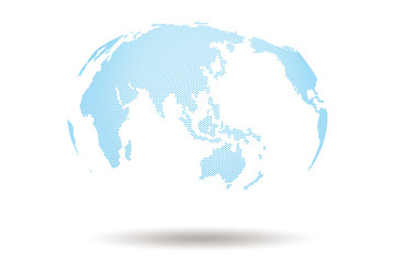 World Map 3d Design with Blue Dot shape On white Background , Present many continent of the world